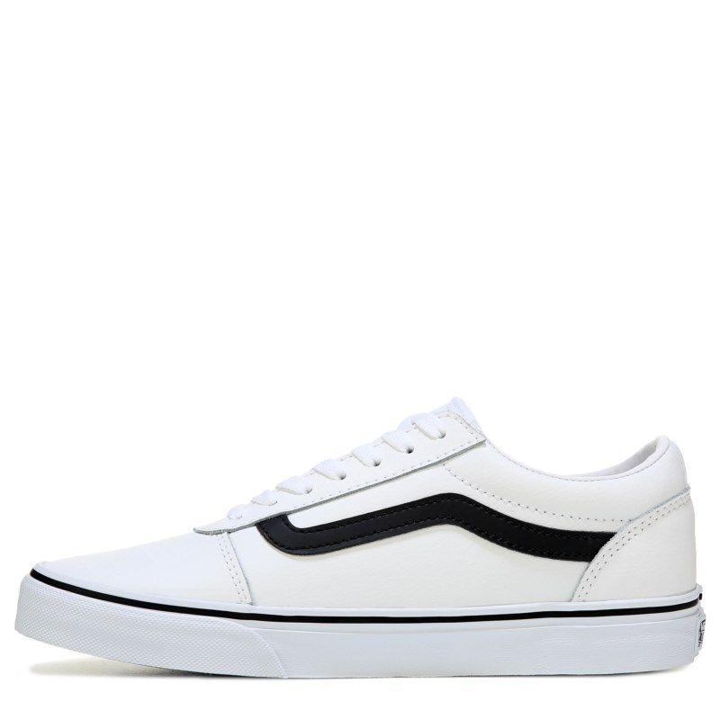 e3d646ee78b7b1 Vans Men s Ward Low Top Leather Skate Shoes (White Black Leather)