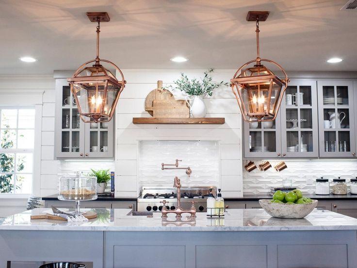 Kitchen inspiration, white brick, cooper lights, gray cabinets, glass doors, wood shelf