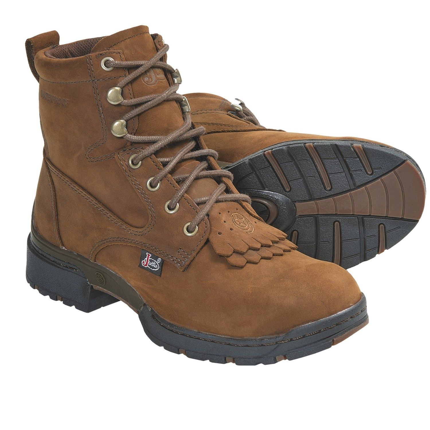 Justin Boots Coffee Westerner Lace Up Boots Waterproof J17 Toe For Women Boots Justin Boots Lace Up Boots
