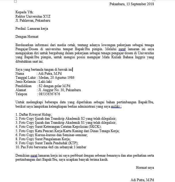 Surat Lamaran Kerja Dosen