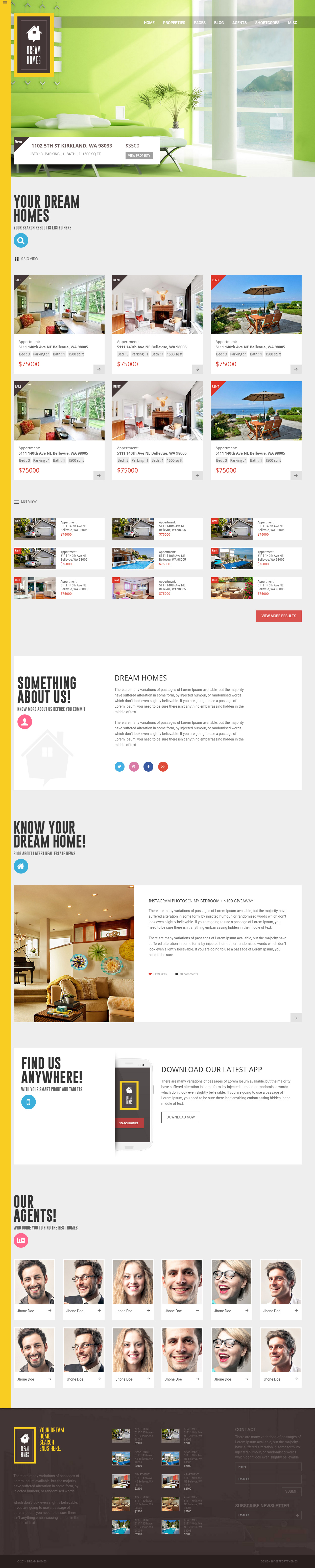 Dream home is premium full responsive retina html5 realestate website pronofoot35fo Gallery