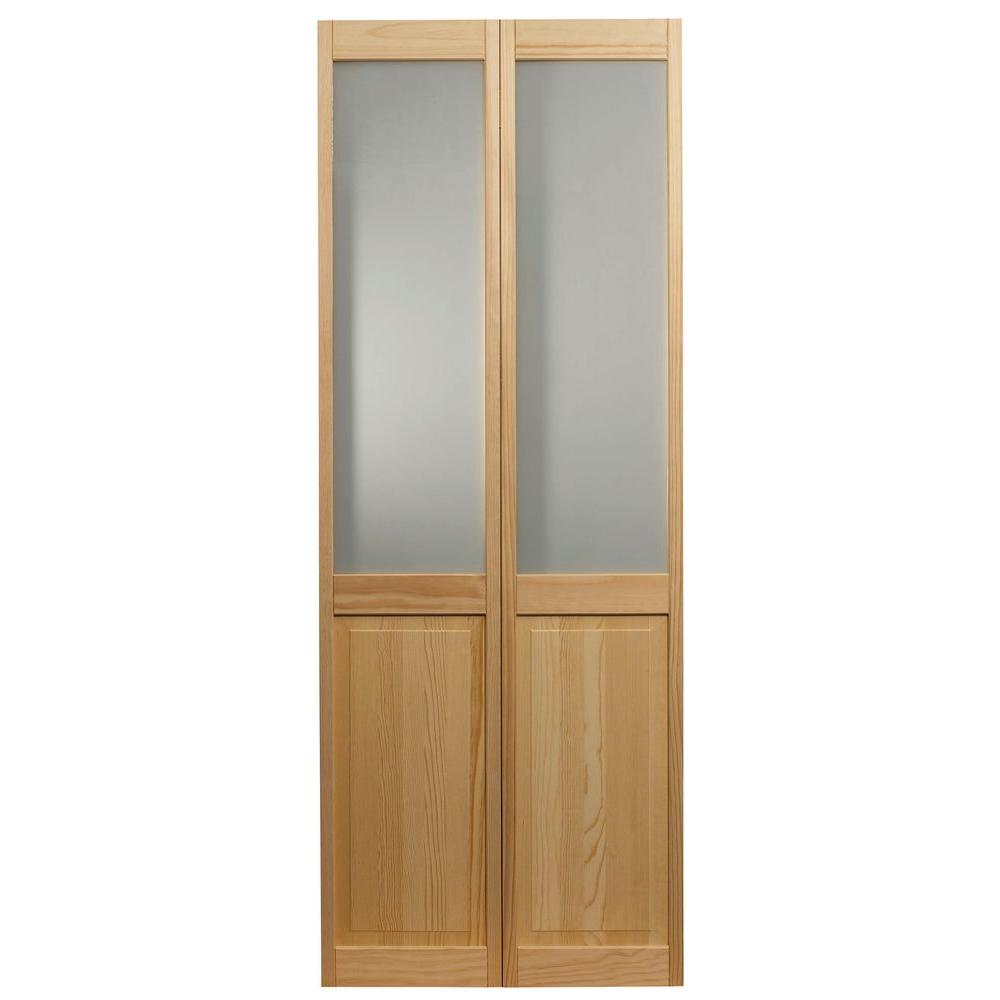 Pinecroft 36 In X 80 In Frosted Glass Over Raised 1 2 Lite Panel Pine Wood Interior Bi Fold Door 875930 Bifold Door Hardware Frosted Glass Door Panel Doors