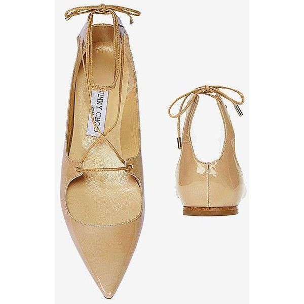 6f921d8c1dd Jimmy Choo Vita Pointy Toe Patent Leather Flat  Nude ( 595) ❤ liked on  Polyvore featuring shoes