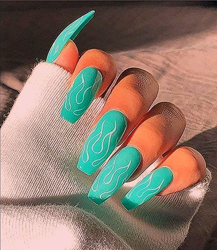 Photo of Teal Coffin Nails Nails