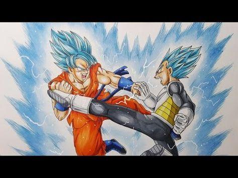 Como Dibujar Goku VS Vegeta Ssj Azul 3 How To Draw Vs Blue Dragon Ball Super