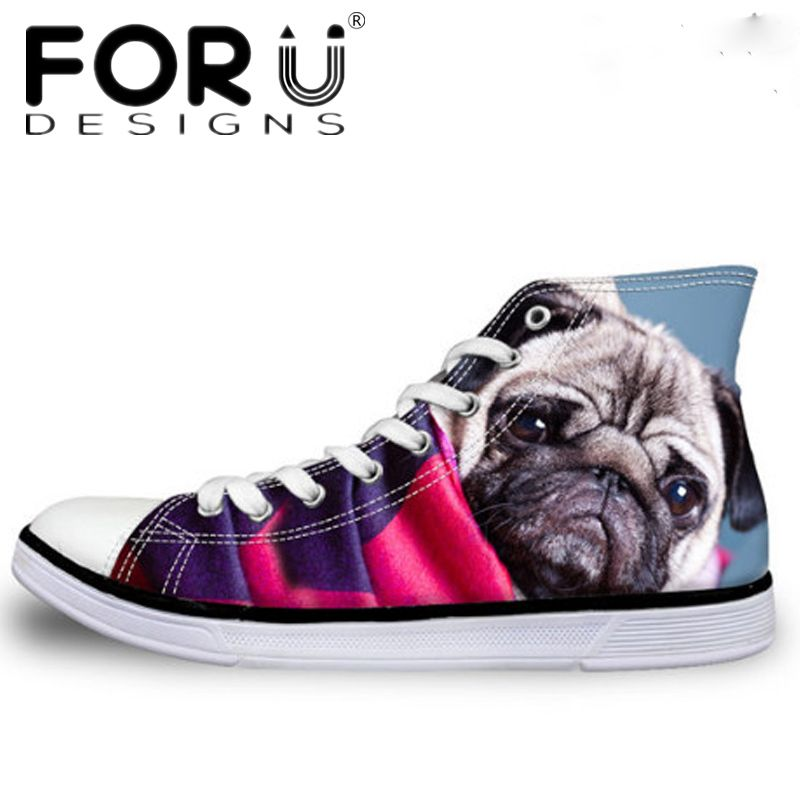 FORUDESIGNS 2017 Women Classic High Top Vulcanized Shoes Cute Pug Dog Bulldog  Printing Female Casual Canvas 63c61ec1469b