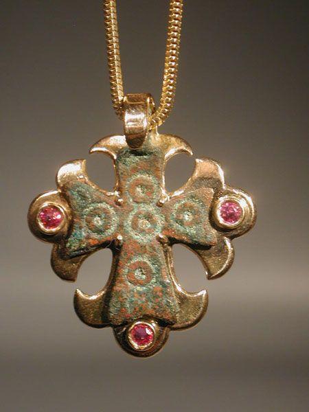 Early christian bronze cross pendant in modern gold setting early christian bronze cross pendant in modern gold setting mozeypictures Images