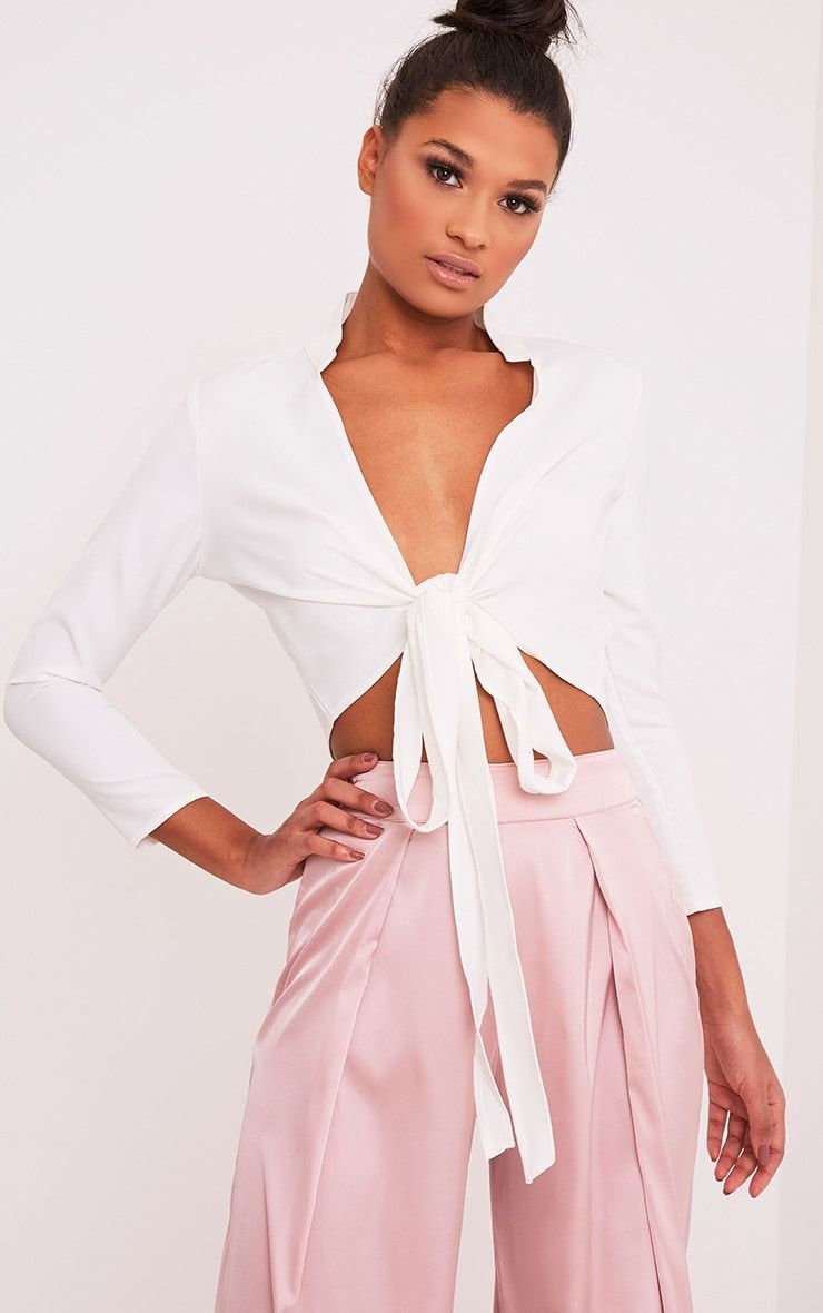 79251400be Blanche White Tie Front Long Sleeve Crop Blouse in 2019