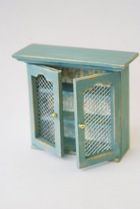 Dolls House Miniature Chicken Wire Kitchen Cabinet | Dollhouse ...