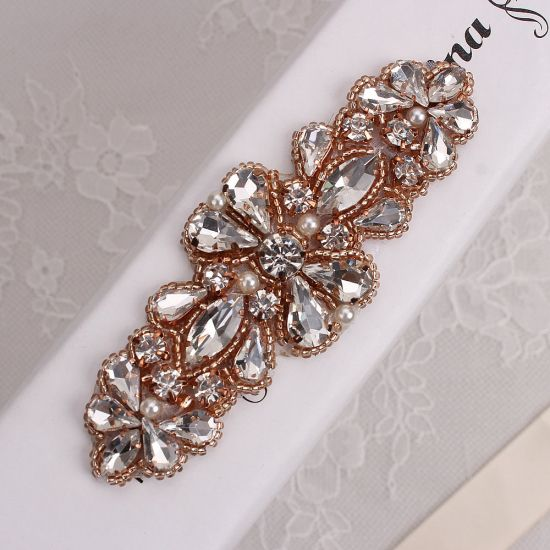 Handmade Hot Fix Rose Gold Rhinestones Applique Iron Sew On Bling Applique  for Headpieces Dresses Garters- FA-724 af0cf35c0e78
