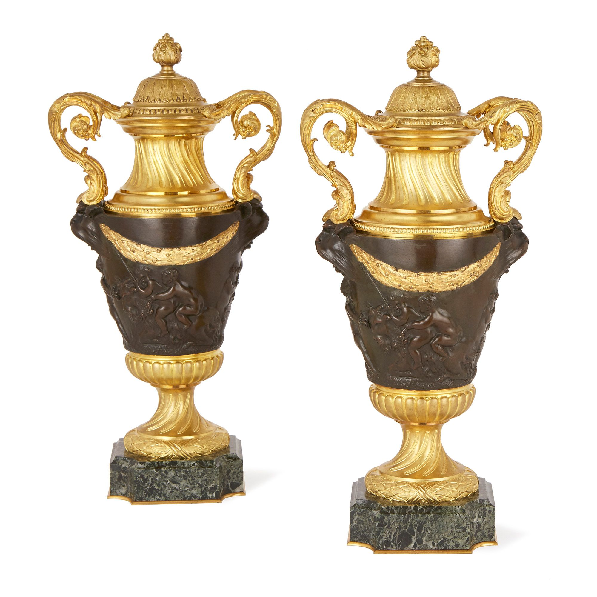 Mayfairgallerypair of french marble gilt and patinated bronze free international shipping these fine antique french vases are notable for their neoclassical depictions of bacchic revelry a theme that embodies reviewsmspy