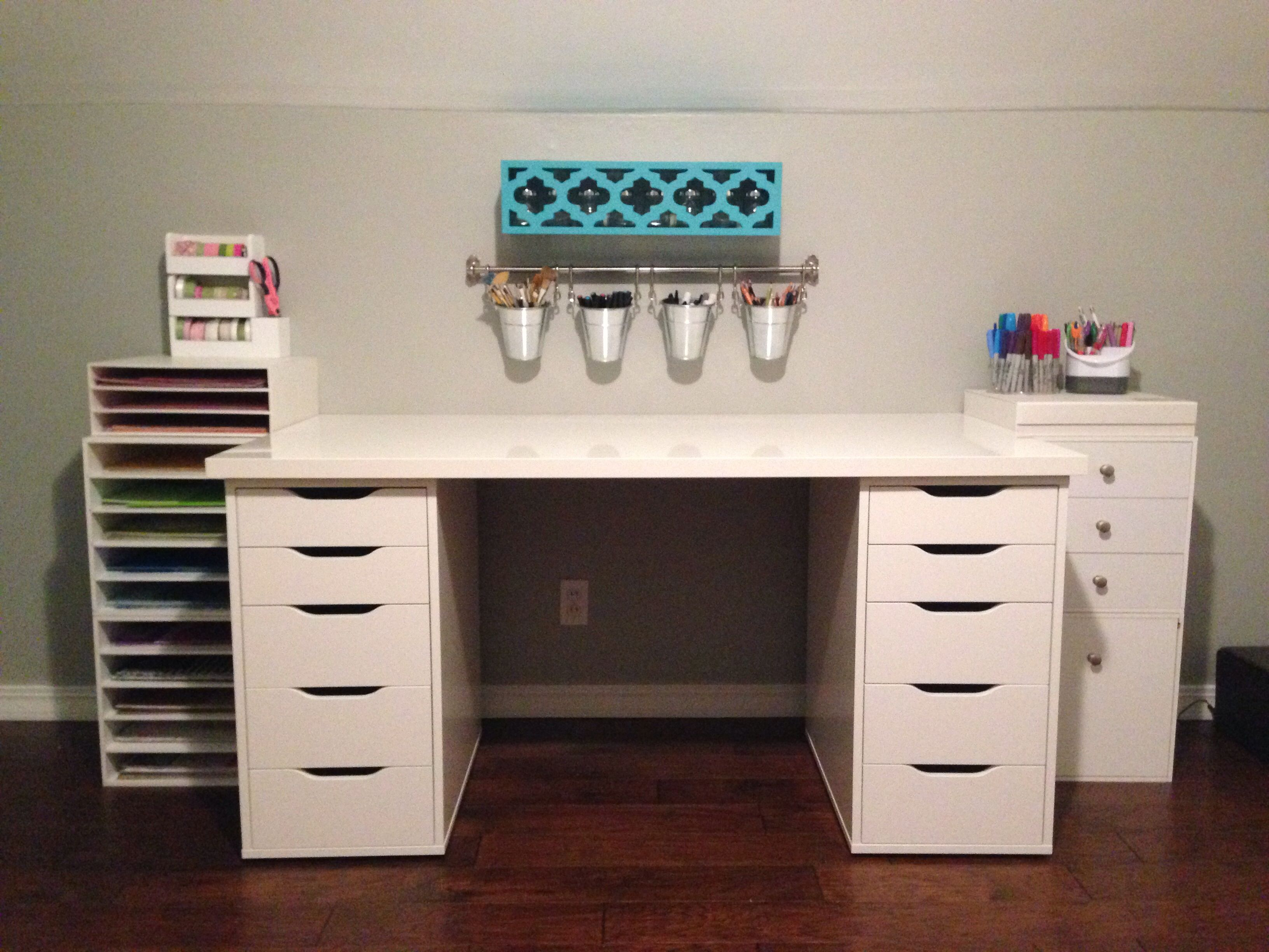 The Girls Need New Desks Badly This Is The Perfect Ratio Of Storage To Work Space Craft Table Ikea Ikea Desk Ikea Crafts