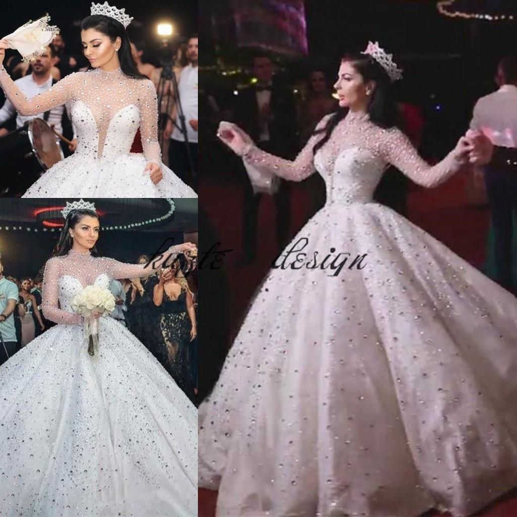 Discount2018 Luxury Glitter Long Sleeve Wedding Dresses Queen Princess Sheer High Neck Crystal Kaftan Dubai Puffy Bridal Wedding Gowns Plus Size From Kazte 33 Queen Wedding Dress Wedding Dress Long Sleeve [ 1024 x 1024 Pixel ]