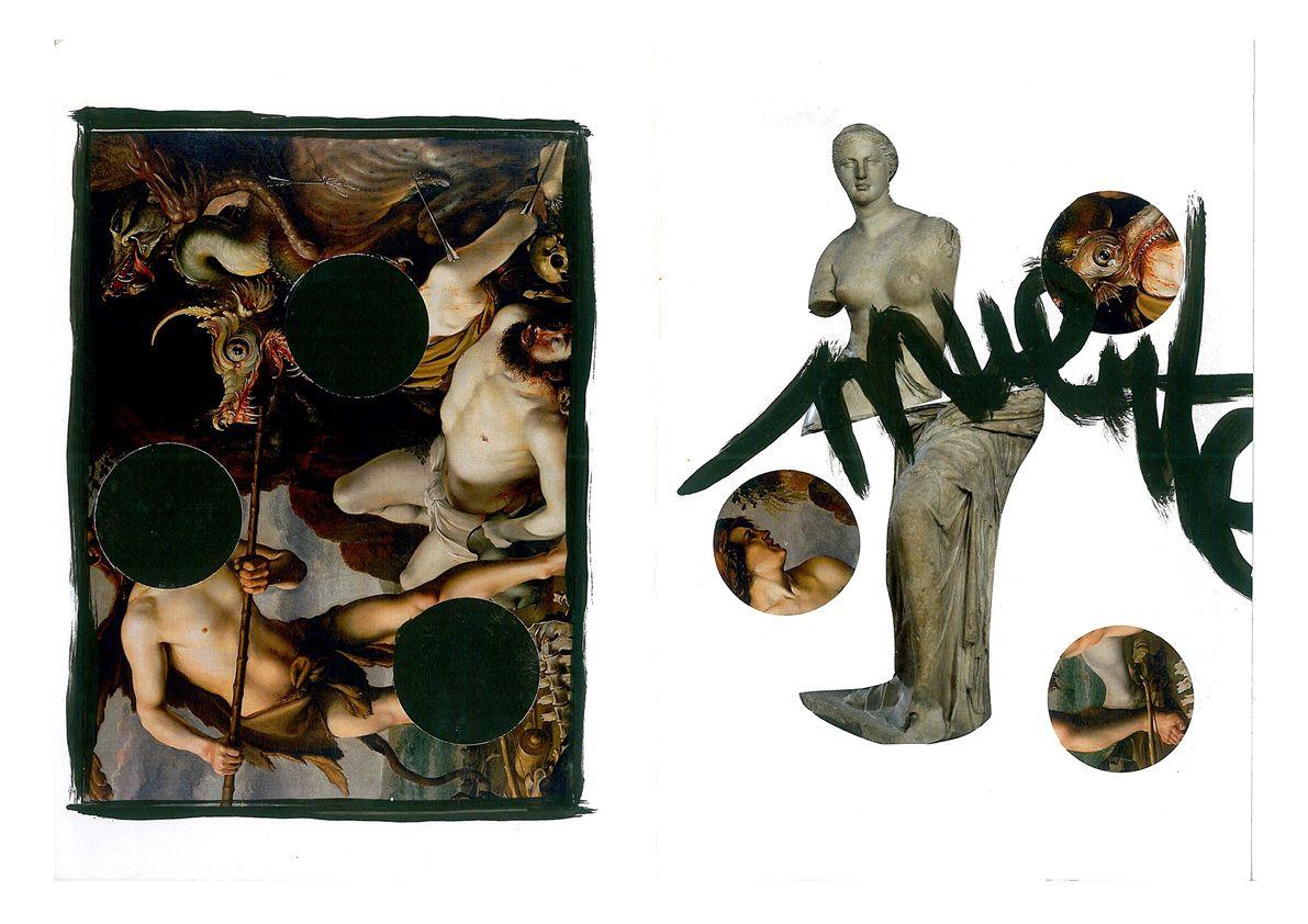 Myths And Metamorphosis Cadmus And Harmonia Collage Art