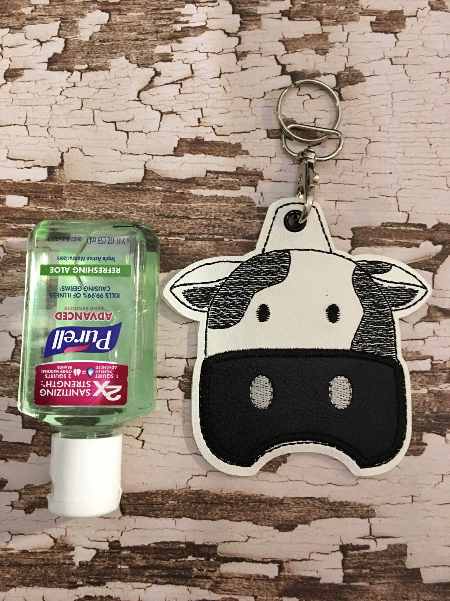 Cow Hand Sanitizer Holder Keychain Hand Sanitizer Key Fob 2