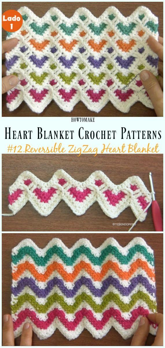 Heart Blanket Crochet Patterns Free And Paid Haken Pinterest