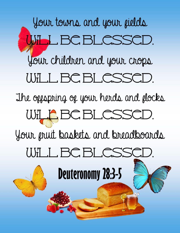 Bible Verse, Scripture Art, Deuteronomy 28:3-5. Promise of Blessings Scripture…