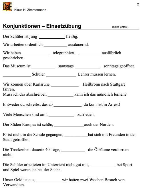 deutsch als fremdsprache daf daz grammatik konjunktionen