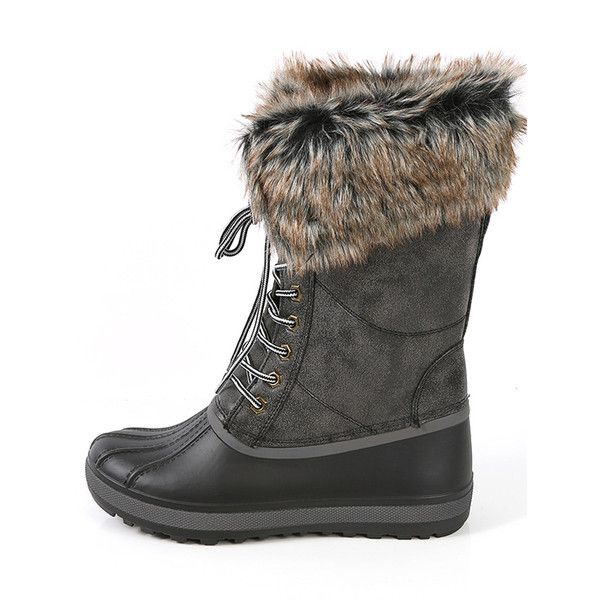 b67cb5f3ad9f Bamboo Blizzard-02 Winter Duck Boots BLACK ( 44) ❤ liked on Polyvore  featuring