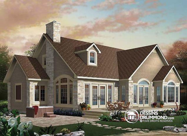 W2694A - Plan de maison champêtre vue panoramique, chambre des - site pour plan de maison