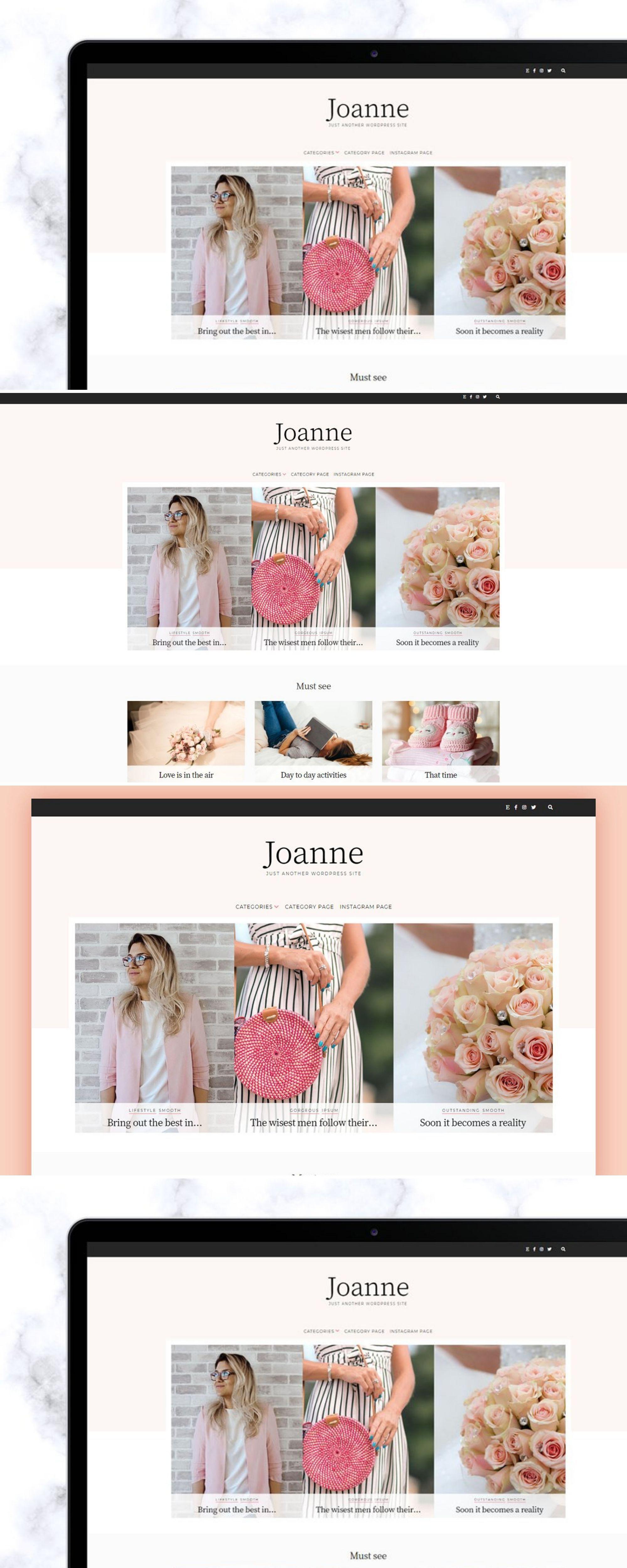 WordPress Blog Theme Joanne Social icons, Instagram