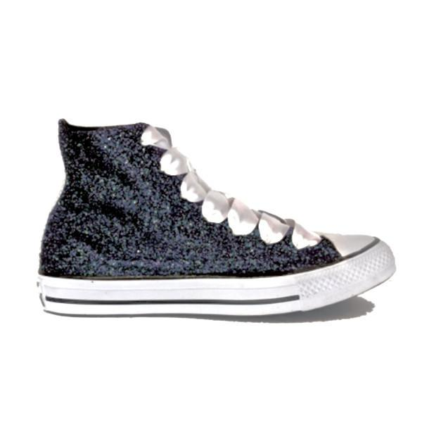 bdefe0162b9d Women's Sparkly Black Glitter Converse All Stars high top wedding bride  shoes