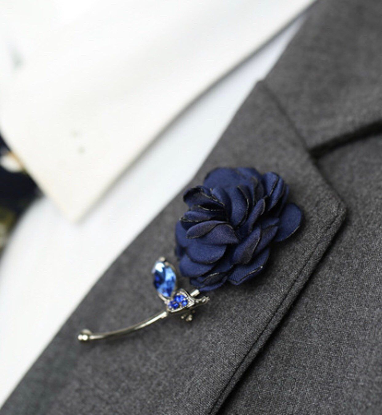 Blue Rose Flower Lapel Pin, Enamel Pin Cloth Art Accessories Brooch Pin Men Women Pin Groomsmen Boutonniere Fashion Wedding Favors Suit pin is part of Clothes Art Flower - Blue Rose Flower Lapel Pin Women Men Cloth Brooch pin   Blue Rose Flower Lapel Pin Silver Metal Women Men Cloth Brooch pin Flower and Metal Gold Pin and Barrel   As a gift, for weddings, the office, date night Perfect every single day! This lapel flower adds an excellent pop of color to any outfit!              SAME DAY SHIPPING Perfect Size for her dress, Tuxedo suit, jacket pin