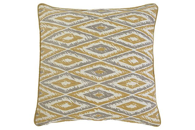 Gold Stitched Pillow and Insert View 1