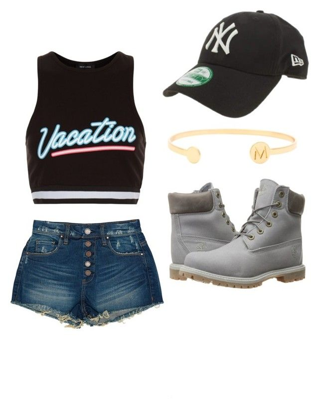 """""""Random outfit x6"""" by victorialinda ❤ liked on Polyvore featuring New Look, New Era, BLANKNYC, gorjana & griffin and Timberland"""
