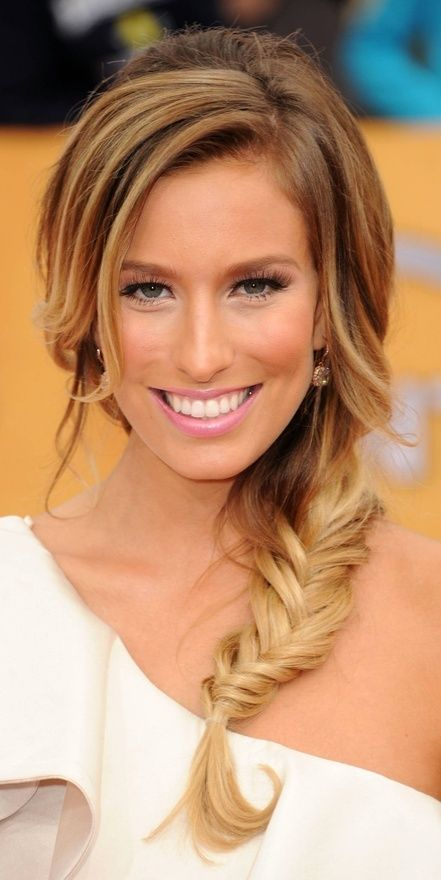 side fishtail braid with long sweepy bangs
