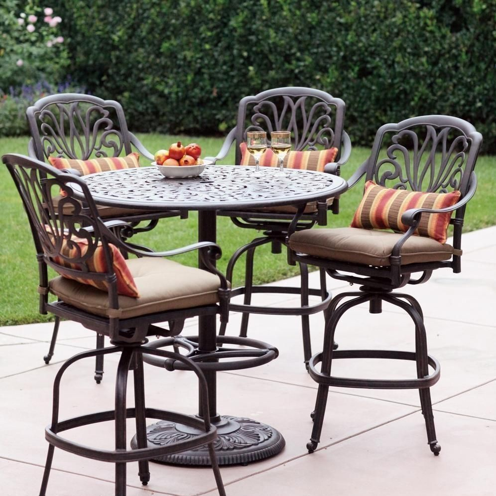 Darlee Elisabeth 5 Piece Cast Aluminum Patio Bar Set With Swivel Bar Stools Bbqguys Bar Height Patio Set Outdoor Patio Bar Patio Bar Set High top patio table and chairs