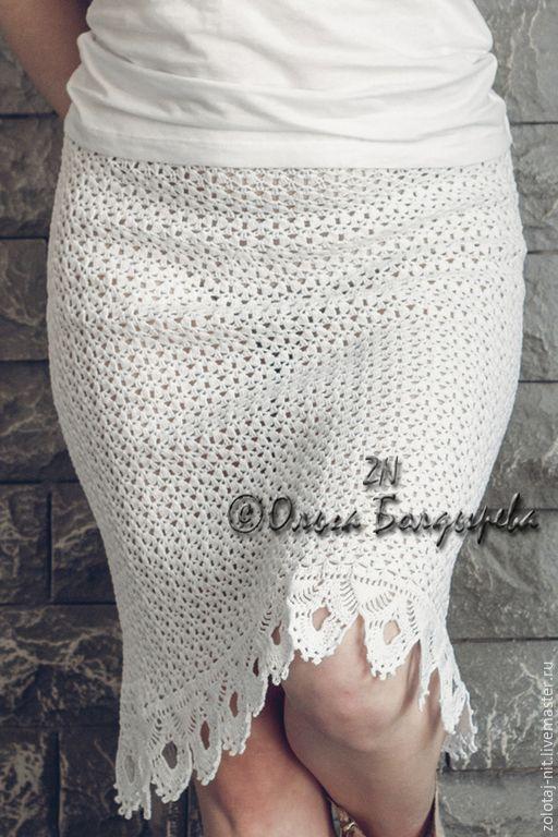 Купить Юбка Бланка - белый, однотонный, юбка летняя, юбка крючком, белоснежный, подарок девушке