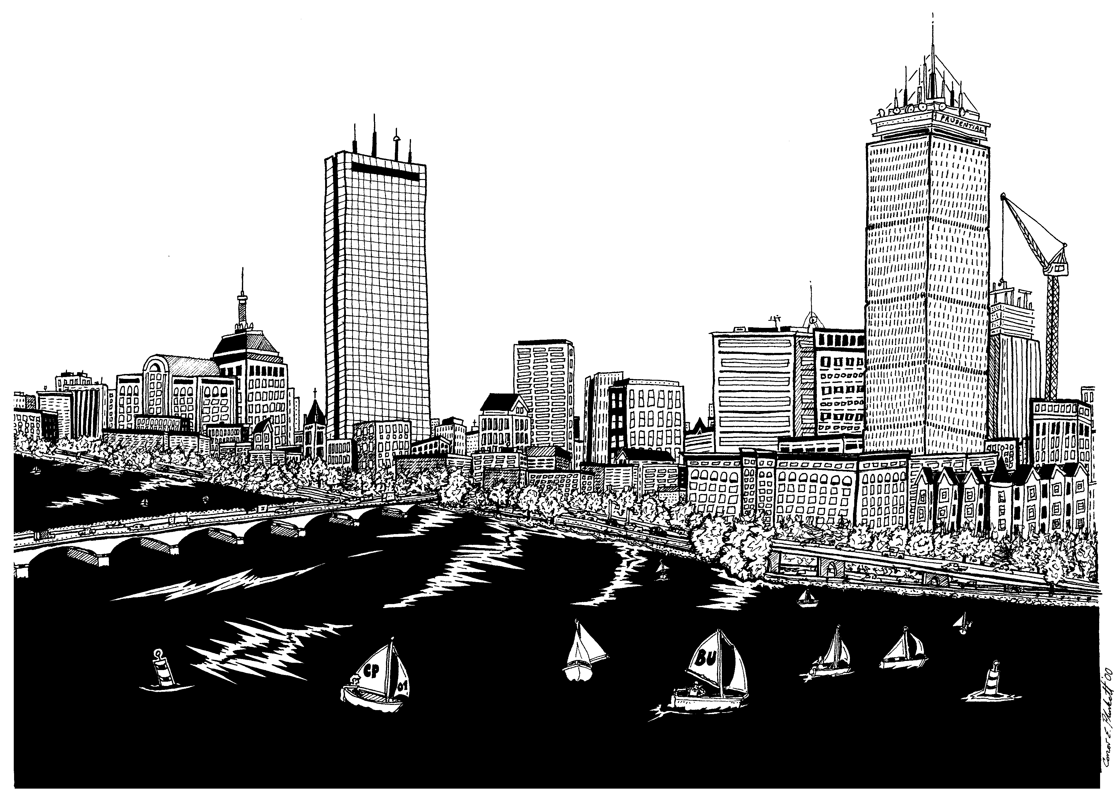 A Pen Ink Drawing Of The Boston Skyline From Memorial Drive With The Pru And Hancock Standing Ground Boston Skyline Skyline Drawing Skyline