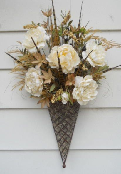 Silk Floral Flower Arrangement In Wall Cone 55 00 Via Etsy Floral Wall Baskets Faux Flower Arrangements Floral Wall Decor