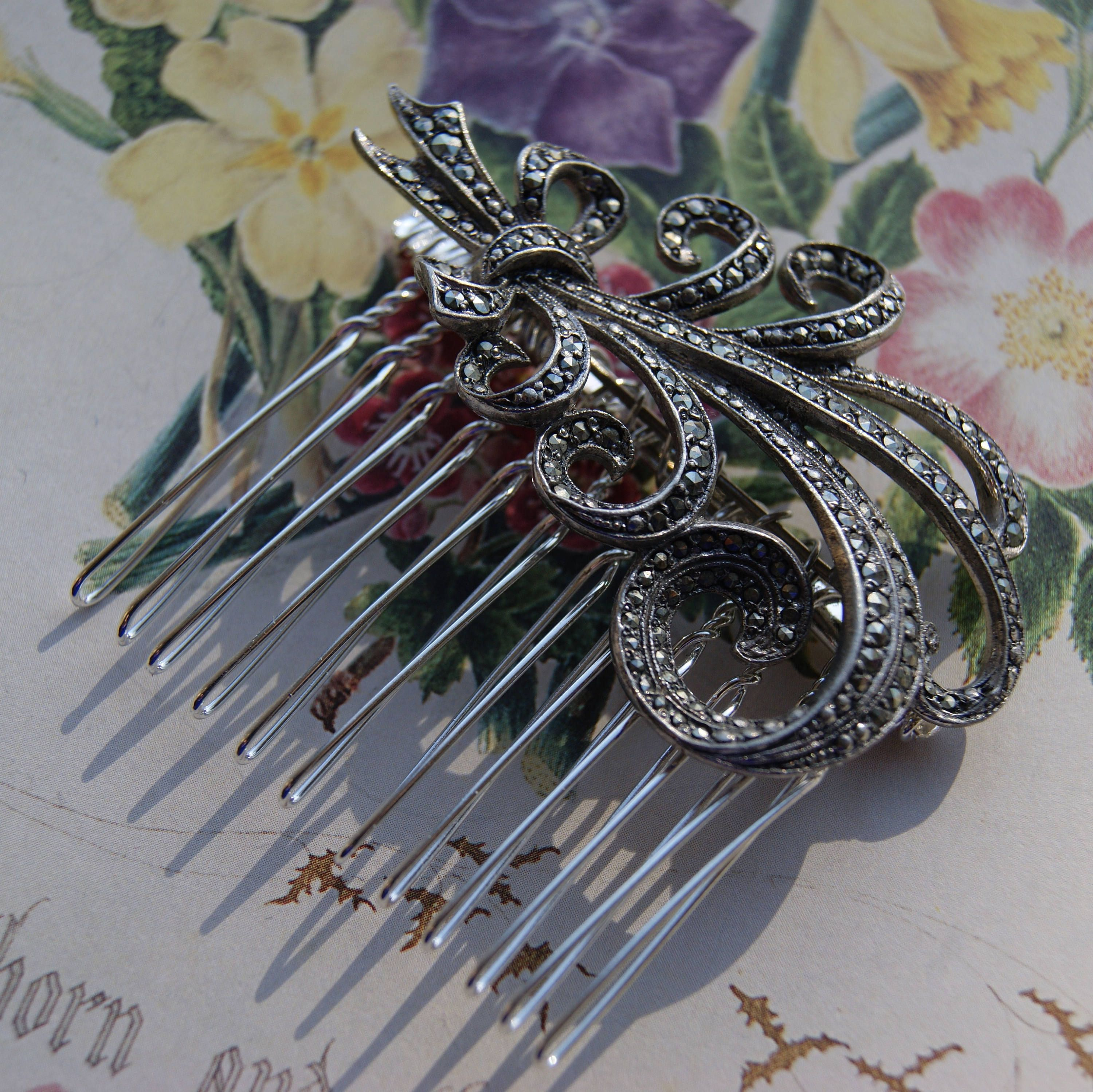 vintage marcasite hair comb, silver tone spray- wedding, bridal