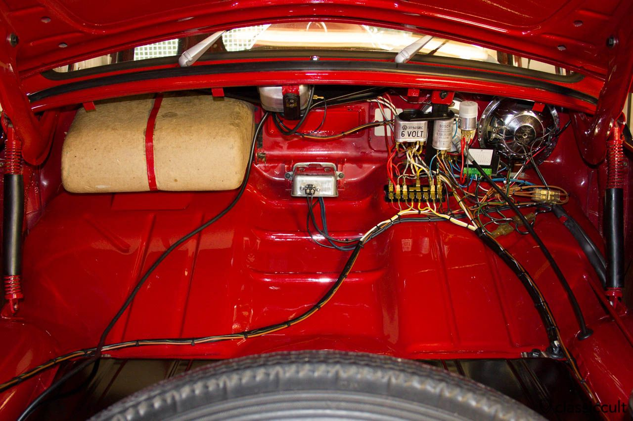 vw beetle 1200 a fuse box and wiring description from classiccult rh pinterest co uk VW Bug Starter Relay Wiring VW Beetle Fuse Box Diagram