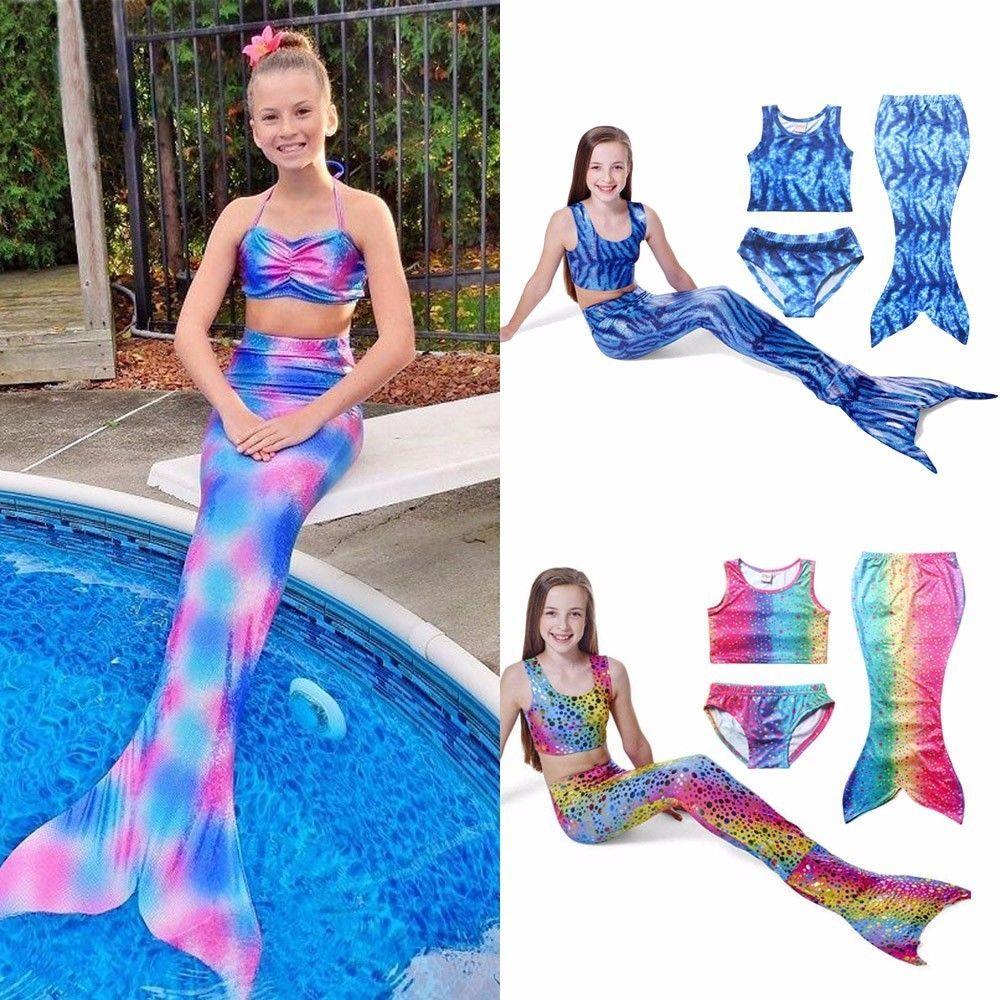 2.2AUD - 3Pcs Set Kids Girls Mermaid Tail Swimmable Bikini Set Swimwear Swim  Costume  ebay  Fashion eb81f7c79622