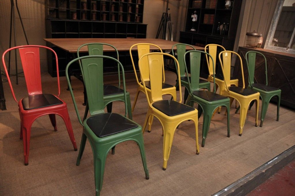 Set Of 10 French Vintage Tolix Green Yellow U0026 Orange A Chairs With Original  Cushions