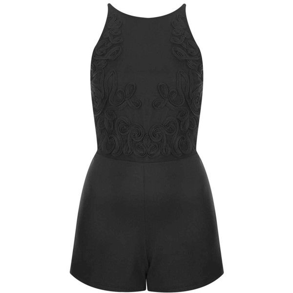 Topshop 'Cornelli' Embroidered Mesh Back Romper ($35) ❤ liked on Polyvore featuring jumpsuits, rompers, dresses, playsuits, jumpsuit, shorts, black, black romper, jump suit and topshop