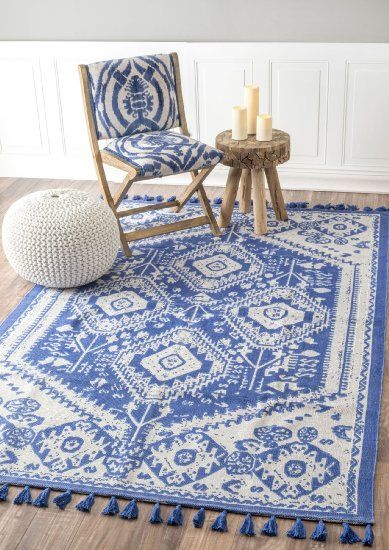 Flatweave Kilim Tassel Cotton Blue Area Rugs 5 Feet By 7 Feet 5 X