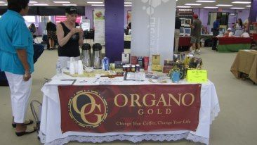 A Coffee sampling table hosted by Organo Coffee at one of our events.