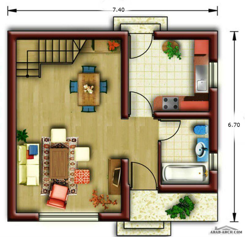 مخطط فيلا صغيرة جدا مساحه 50 متر مربع 2 غرفة نوم Arab Arch House Design Site Plan Design
