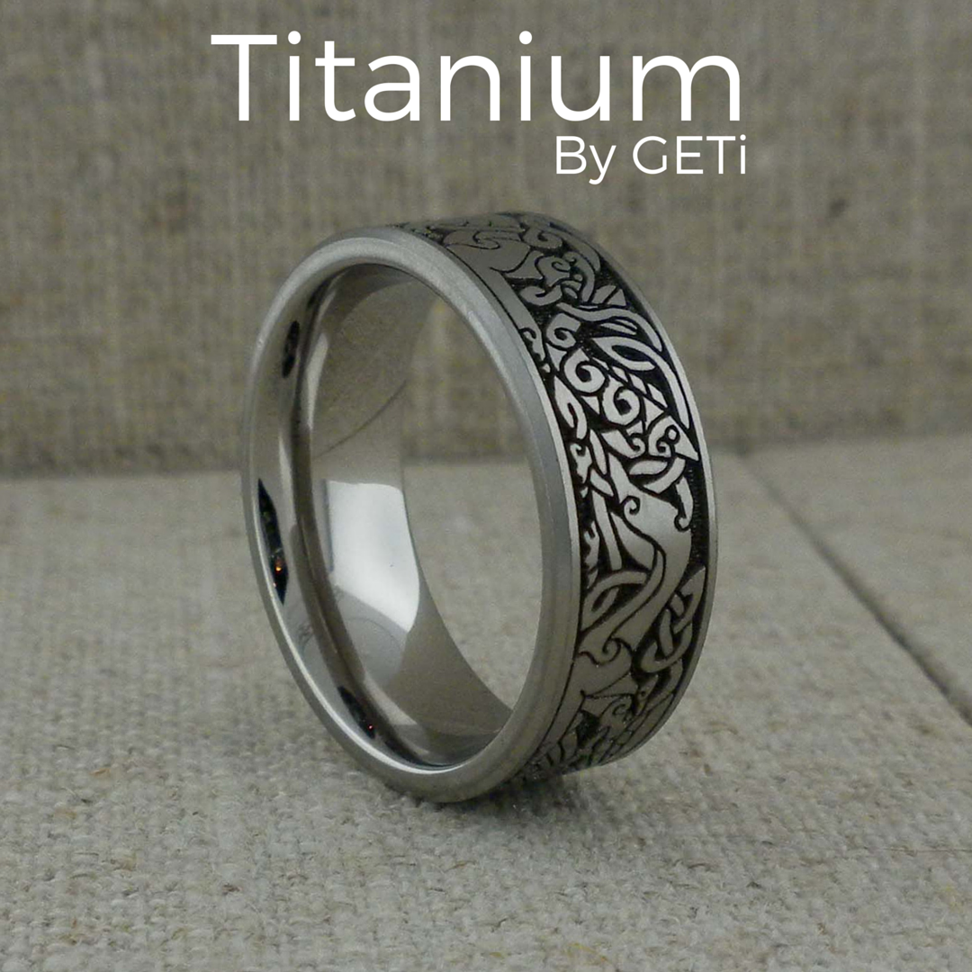 Celtic Wedding Ring in Titanium Made in the UK by GETi Mens