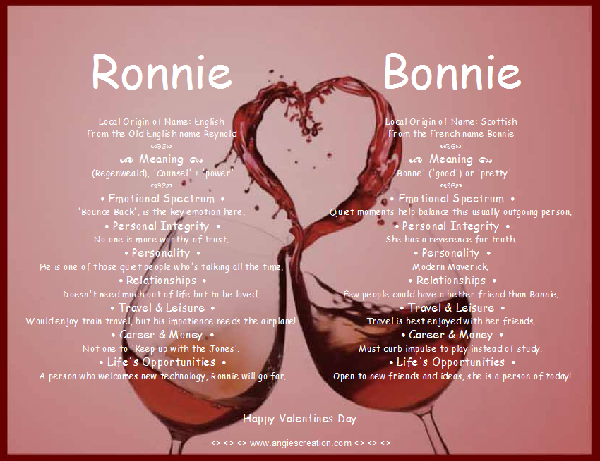 ronnie and bonnie dual name meaning angies creation - What Is The Meaning Of Valentines Day
