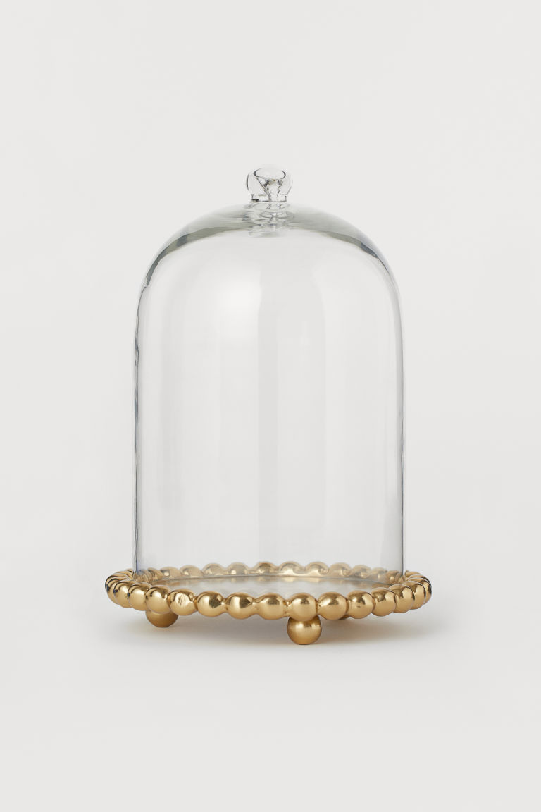 Cloche En Verre Avec Base Dore Verre Transparent Home All