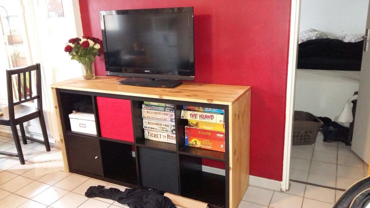 Un Meuble T L Avec Kallax Je Souhaite Meuble Tv Et Bientot # Meuble Tv Ikea Kallax