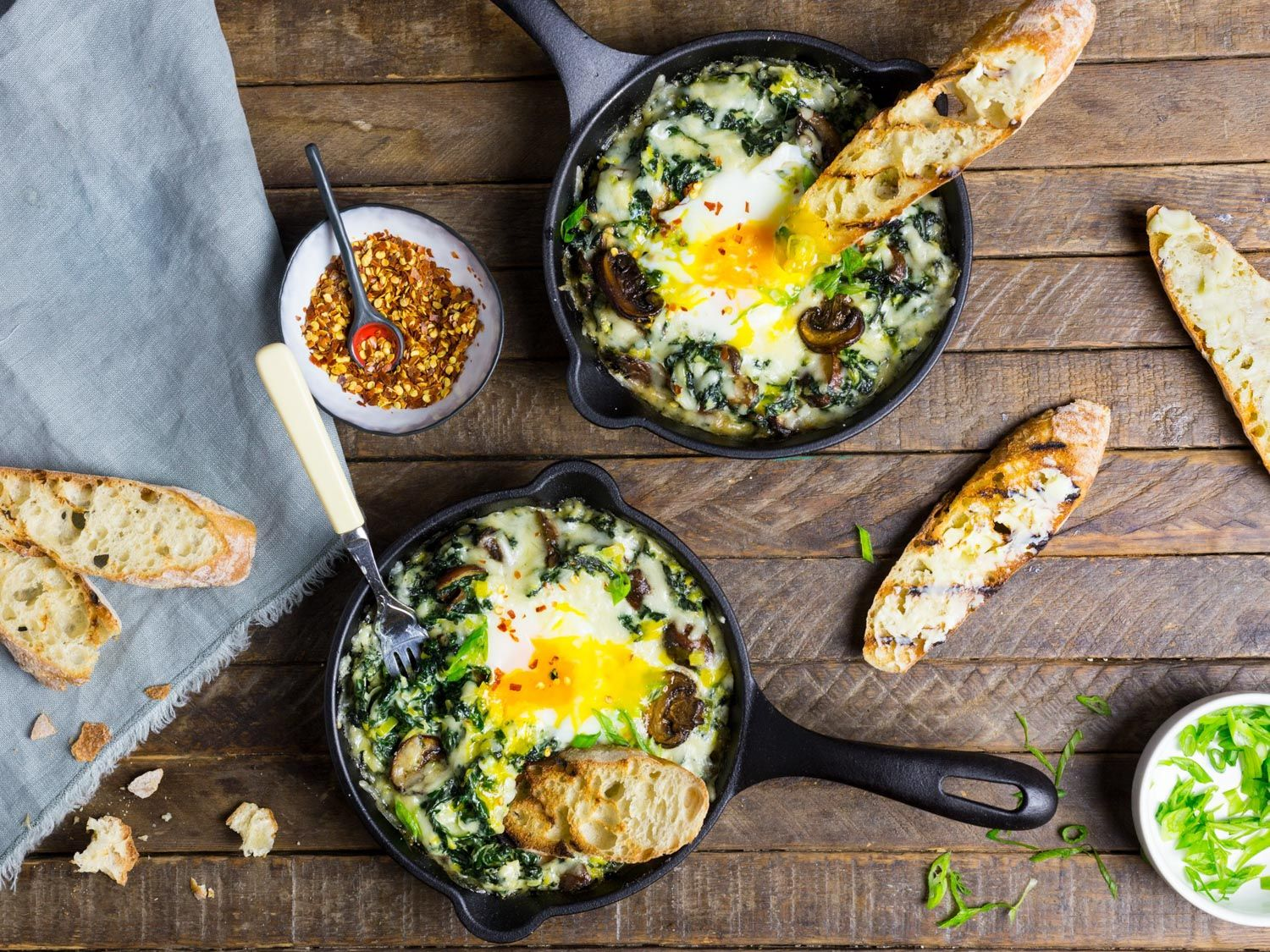 Photo of Baked Eggs With Creamy Greens, Mushrooms, and Cheese Recipe