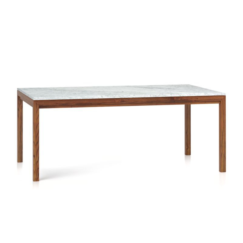Shop Parsons White Marble Top Elm Base 72x42 Dining Table You Ve