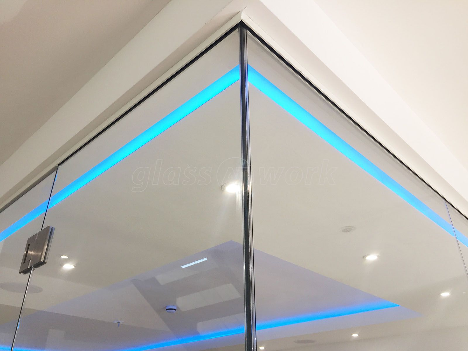 From Glass At Work: Frameless Glass Corner Room with glass-to-glass ...