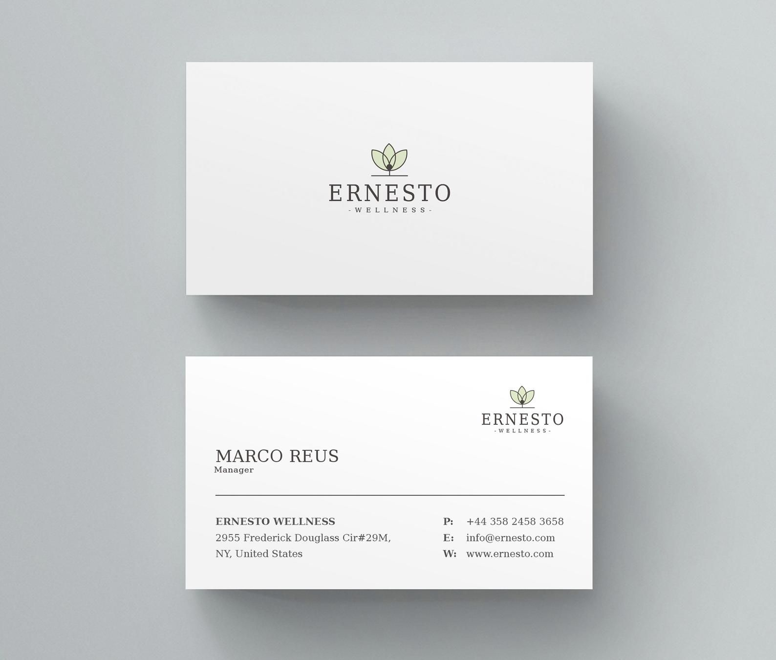 Clean Business Card Simple Minimal Easy Editable Ms Word Etsy